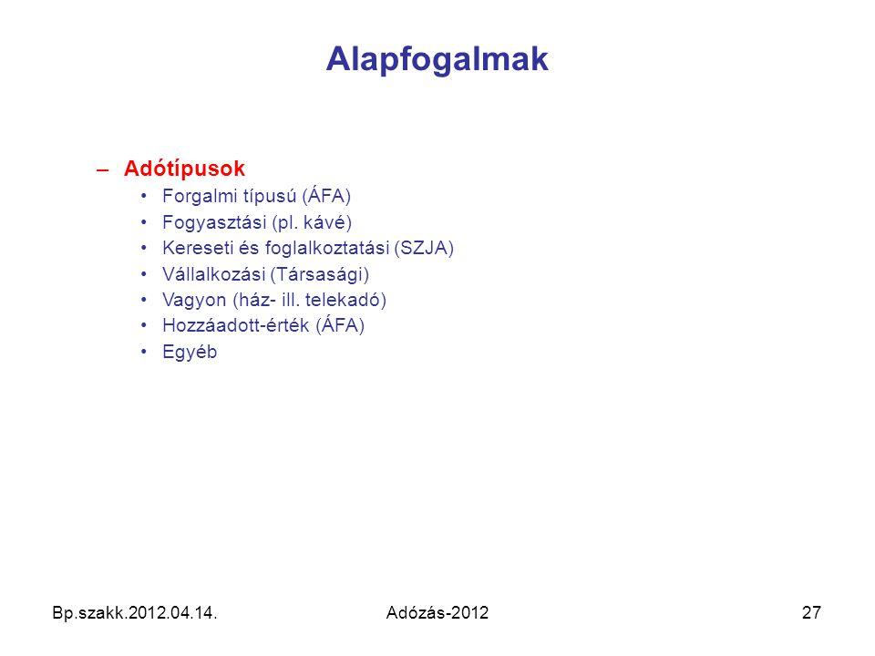 Alapfogalmak Adótípusok Forgalmi típusú (ÁFA) Fogyasztási (pl. kávé)