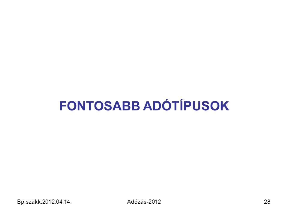 FONTOSABB ADÓTÍPUSOK Bp.szakk.2012.04.14. Adózás-2012 28 28