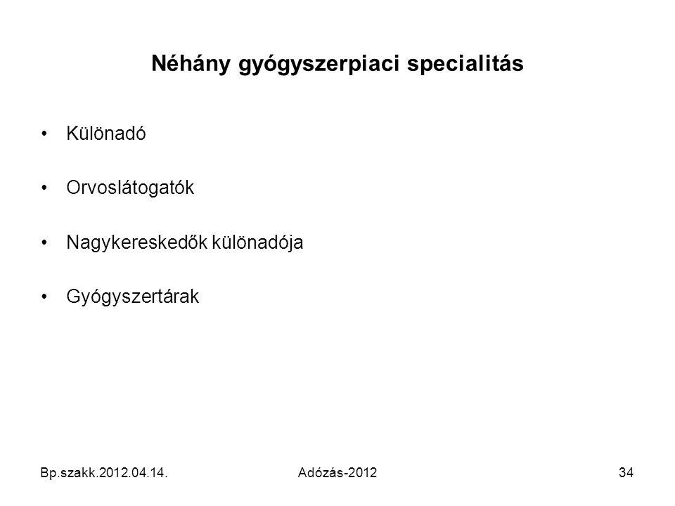 Néhány gyógyszerpiaci specialitás