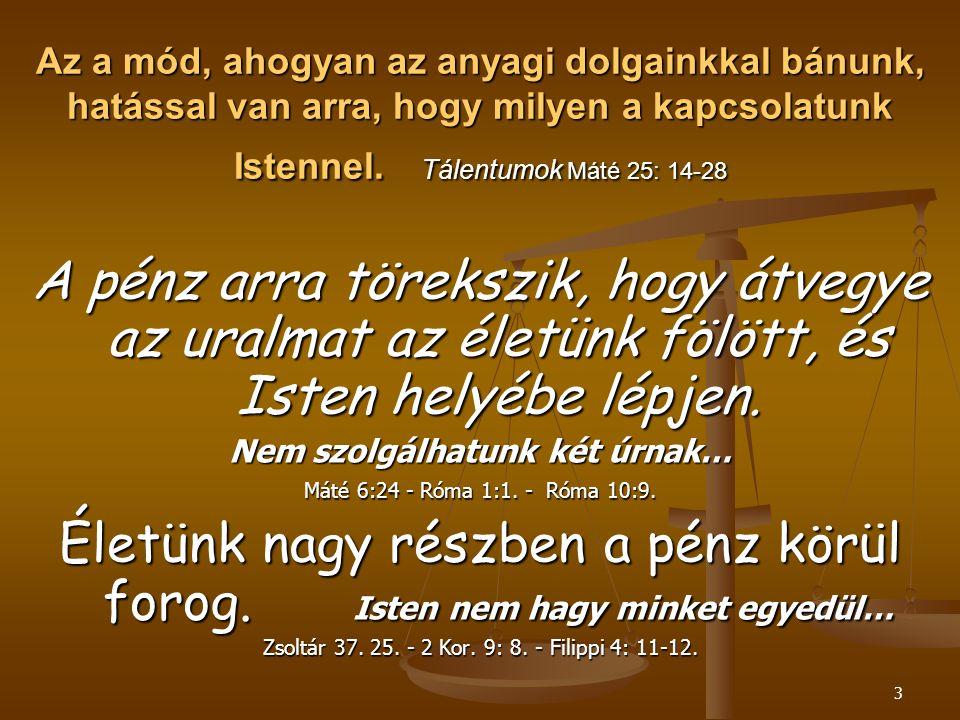 Az a mód, ahogyan az anyagi dolgainkkal bánunk, hatással van arra, hogy milyen a kapcsolatunk Istennel. Tálentumok Máté 25: 14-28