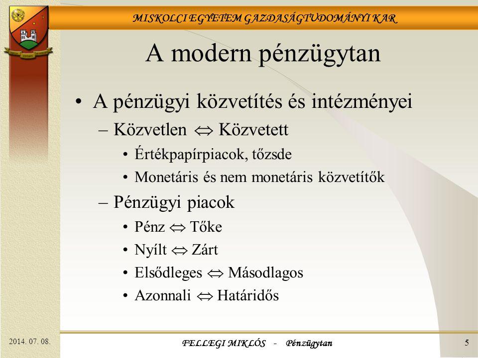FELLEGI MIKLÓS - Pénzügytan