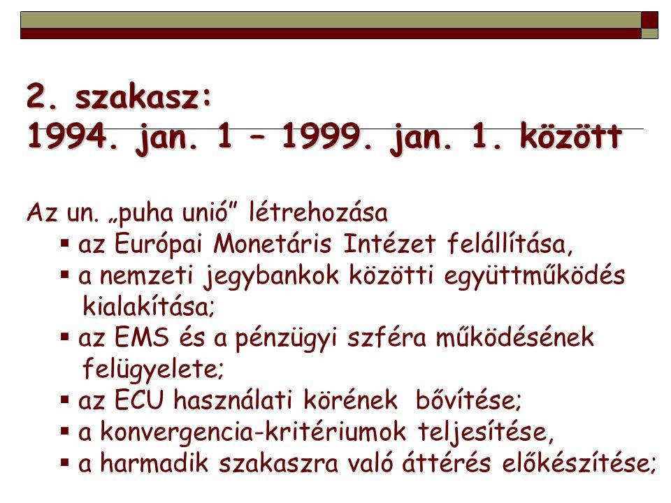 2. szakasz: 1994. jan. 1 – 1999. jan. 1. között