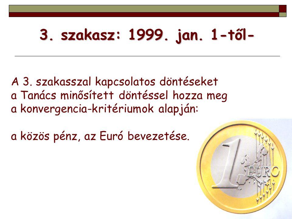 3. szakasz: 1999. jan. 1-től- A 3. szakasszal kapcsolatos döntéseket