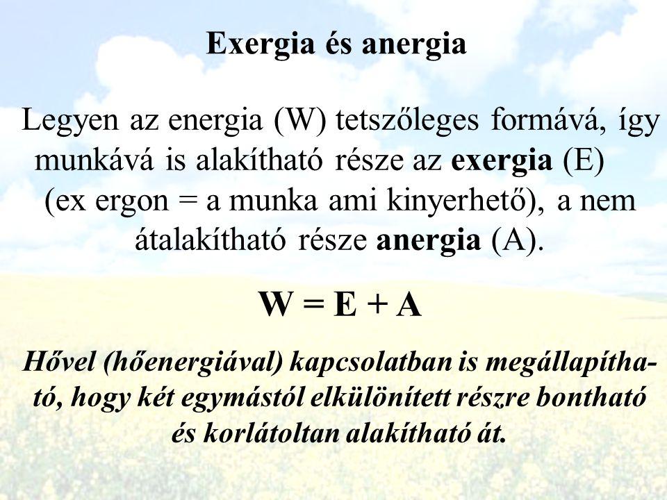 W = E + A Exergia és anergia