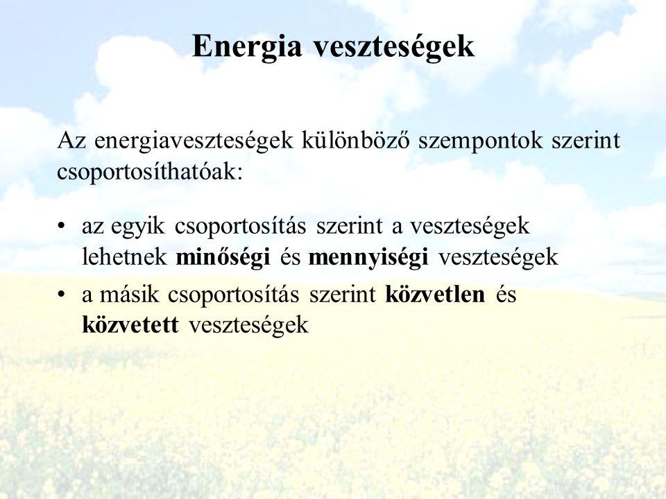 Energia veszteségek Az energiaveszteségek különböző szempontok szerint csoportosíthatóak: