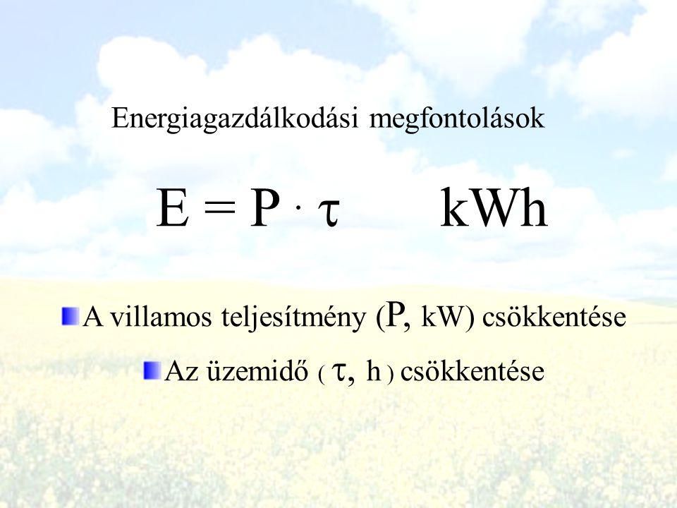E = P . t kWh Energiagazdálkodási megfontolások