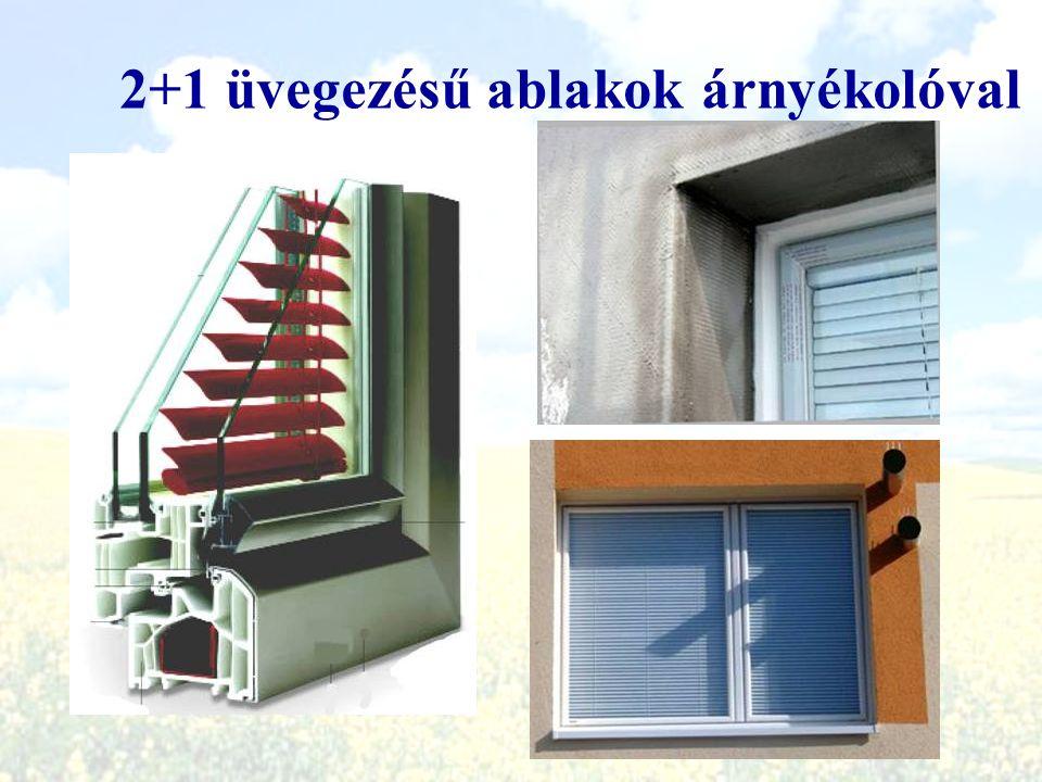 2+1 üvegezésű ablakok árnyékolóval