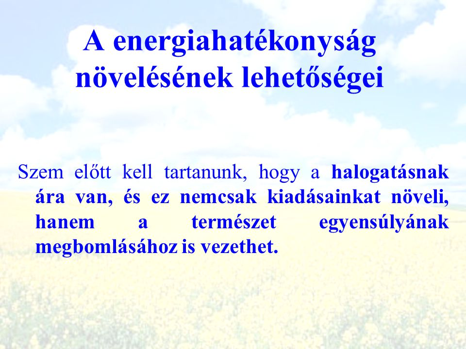 A energiahatékonyság növelésének lehetőségei
