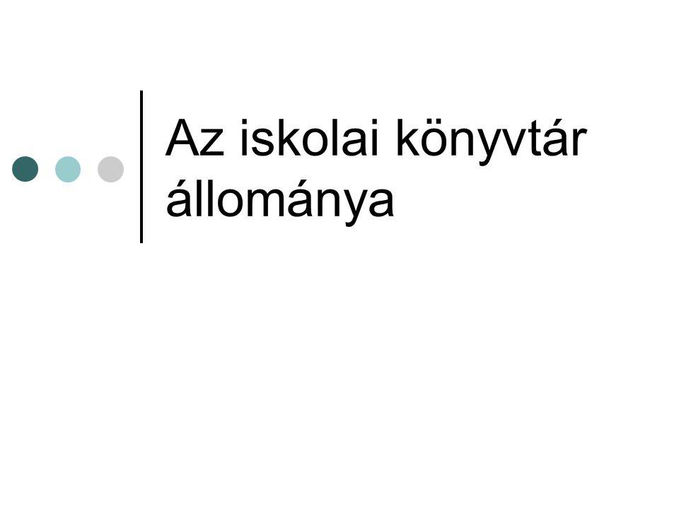 Az iskolai könyvtár állománya