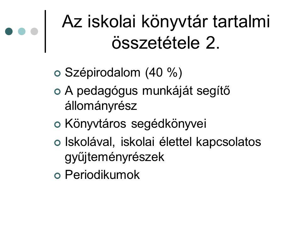 Az iskolai könyvtár tartalmi összetétele 2.