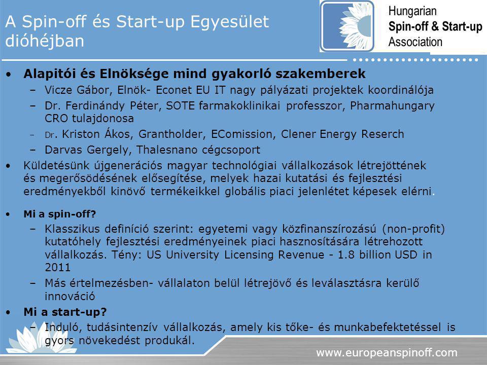 A Spin-off és Start-up Egyesület dióhéjban