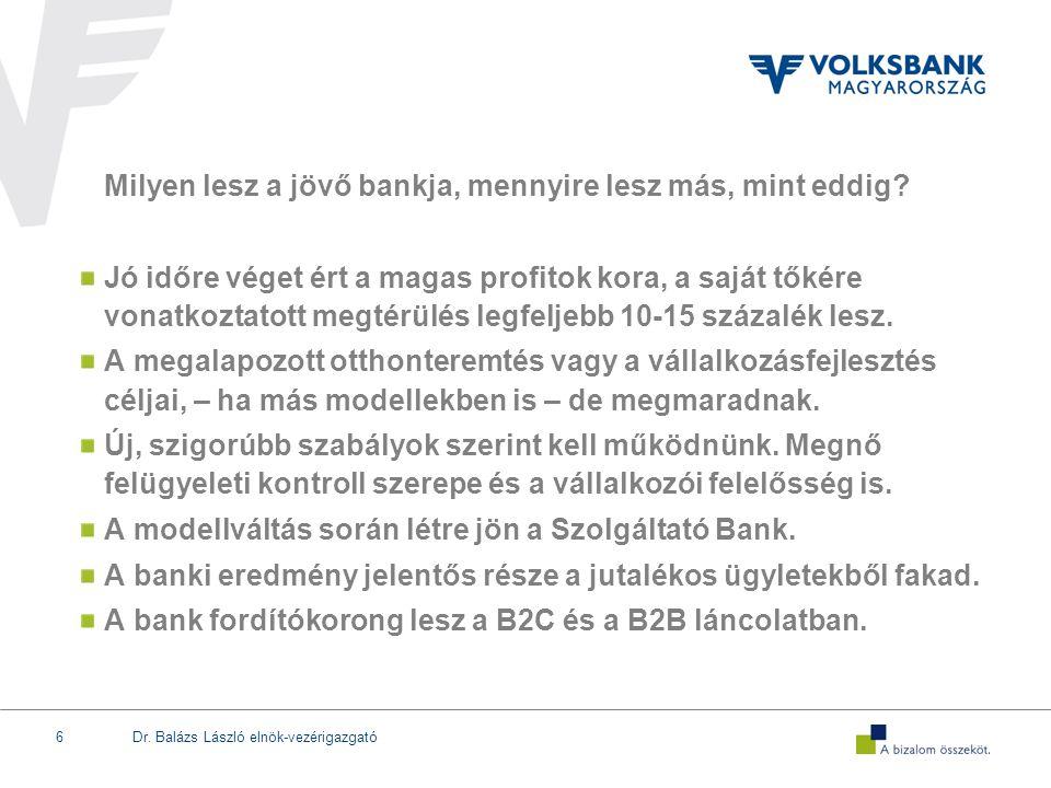 A modellváltás során létre jön a Szolgáltató Bank.