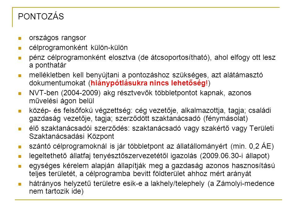 PONTOZÁS országos rangsor célprogramonként külön-külön