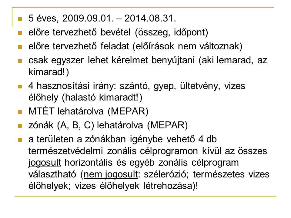 5 éves, 2009.09.01. – 2014.08.31. előre tervezhető bevétel (összeg, időpont) előre tervezhető feladat (előírások nem változnak)