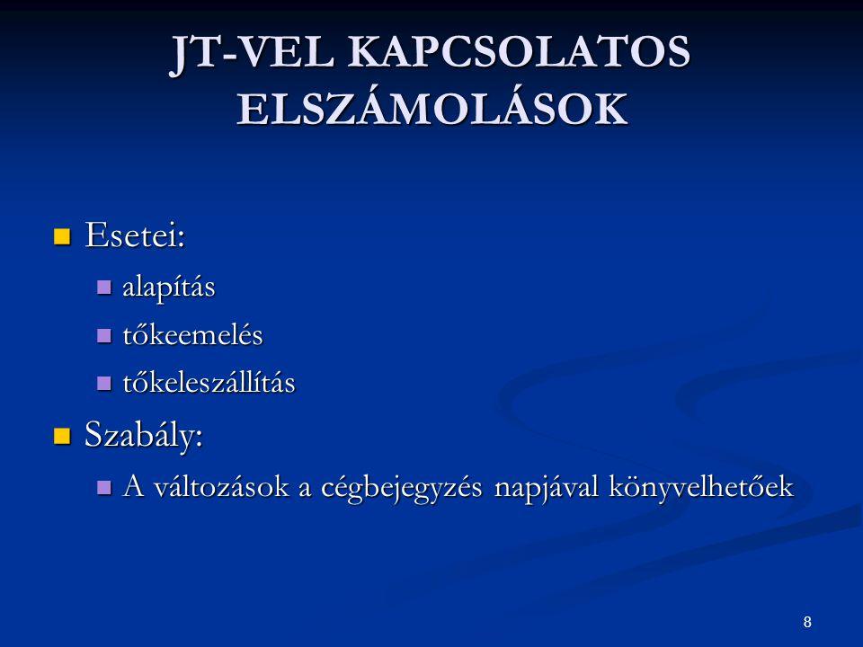 JT-VEL KAPCSOLATOS ELSZÁMOLÁSOK