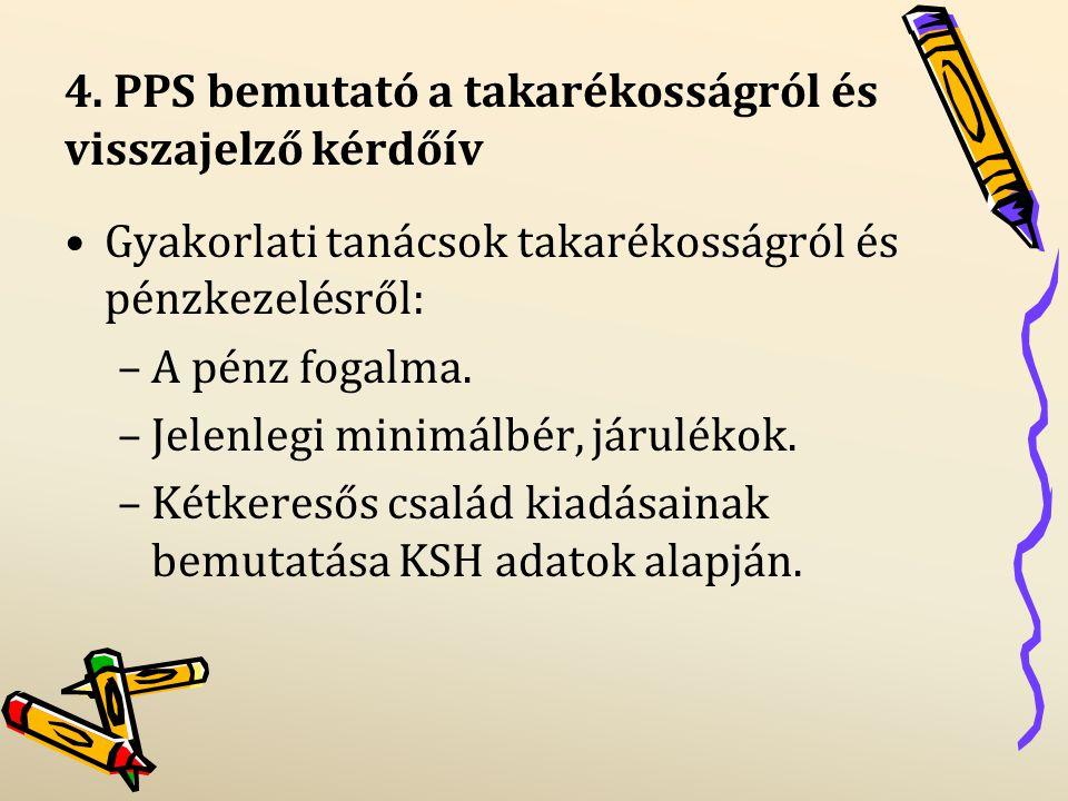 4. PPS bemutató a takarékosságról és visszajelző kérdőív