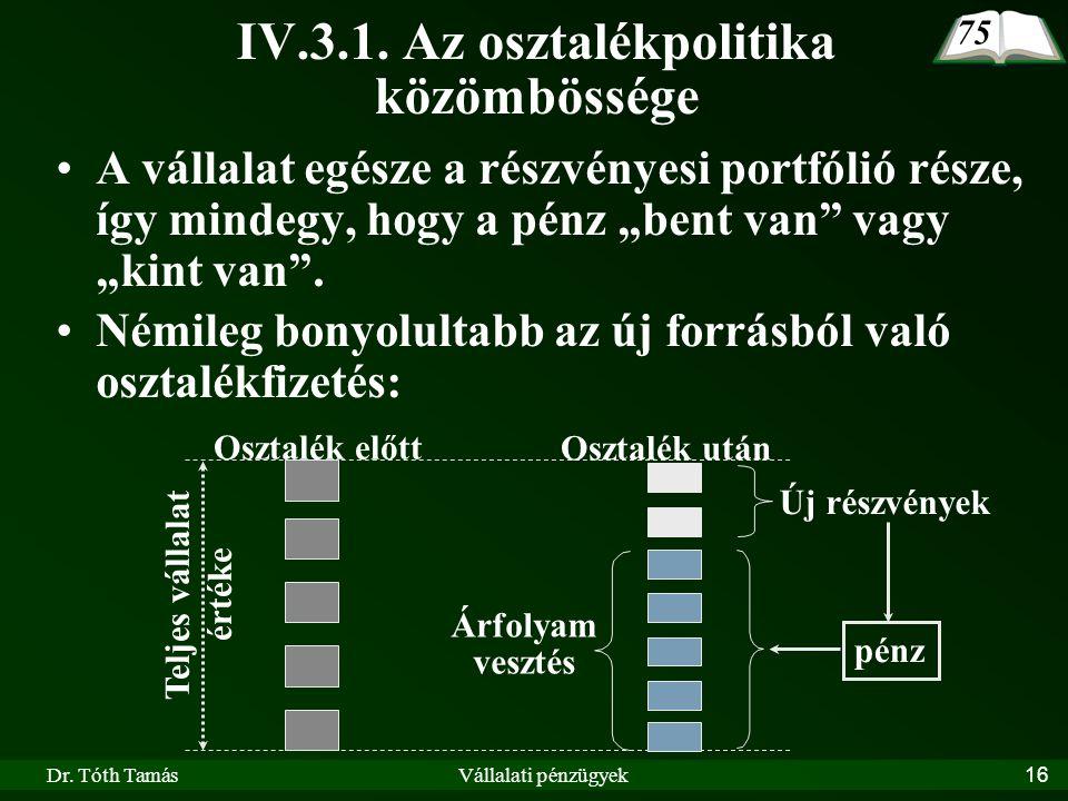 IV.3.1. Az osztalékpolitika közömbössége