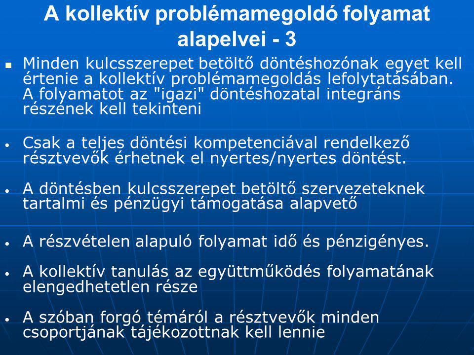 A kollektív problémamegoldó folyamat alapelvei - 3
