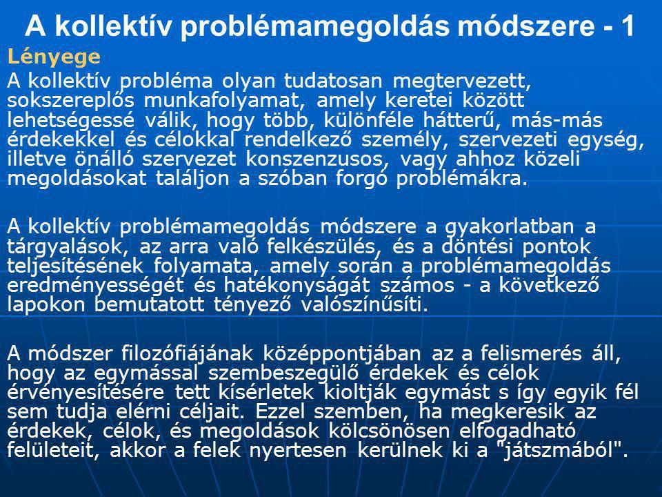 A kollektív problémamegoldás módszere - 1