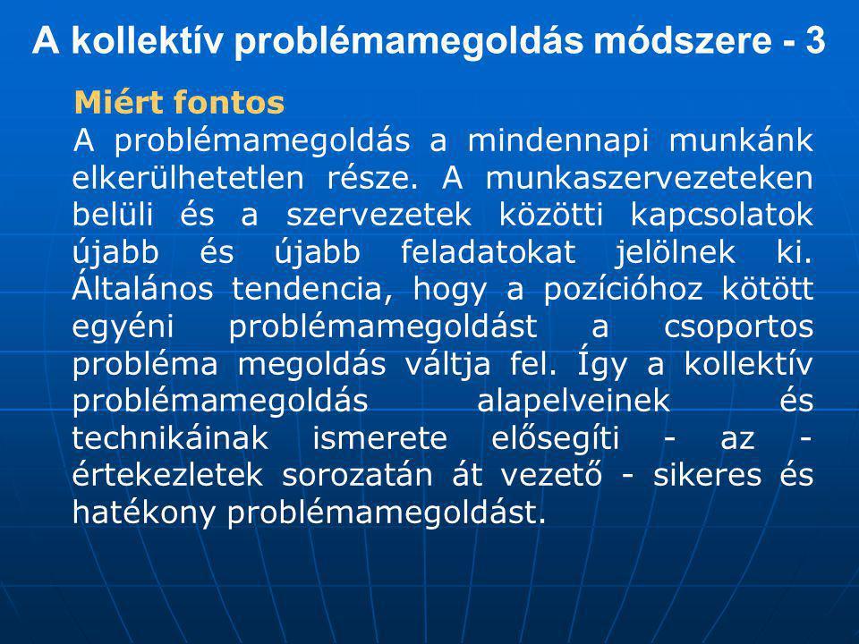A kollektív problémamegoldás módszere - 3