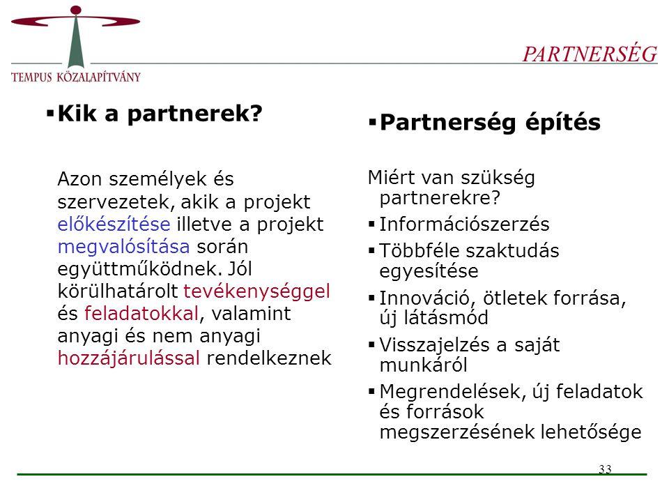 PARTNERSÉG Kik a partnerek Partnerség építés