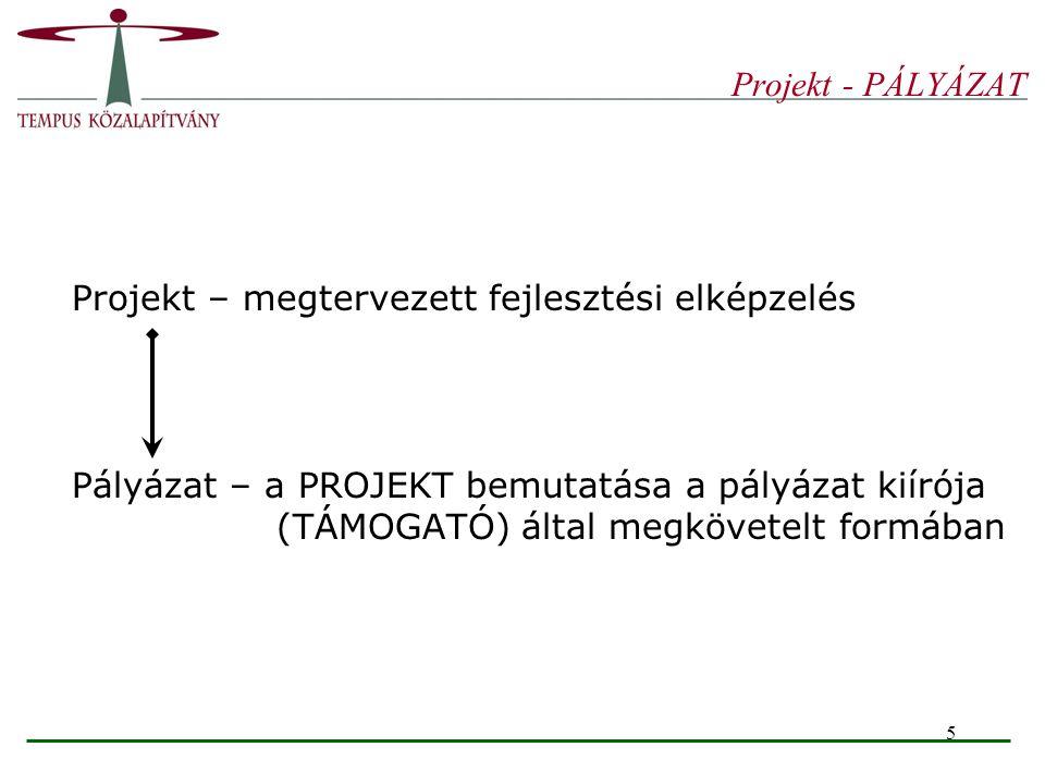 Projekt - PÁLYÁZAT Projekt – megtervezett fejlesztési elképzelés.