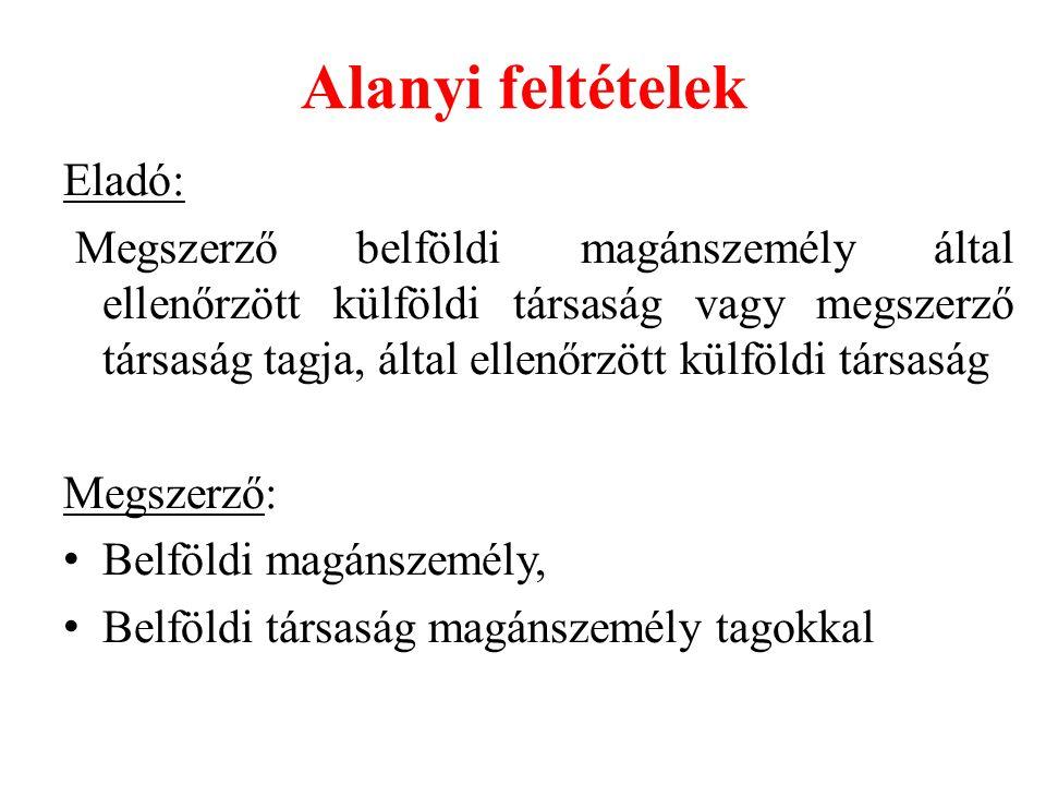 Alanyi feltételek Eladó: