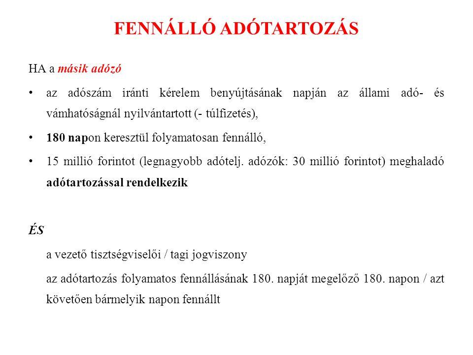 FENNÁLLÓ ADÓTARTOZÁS HA a másik adózó
