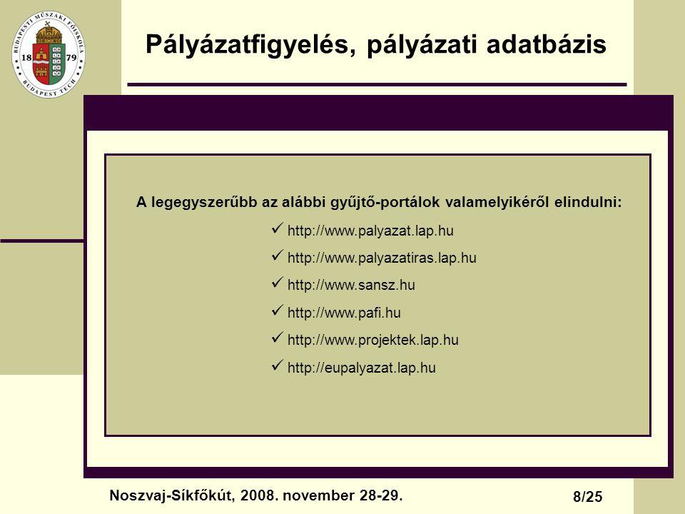 Pályázatfigyelés, pályázati adatbázis