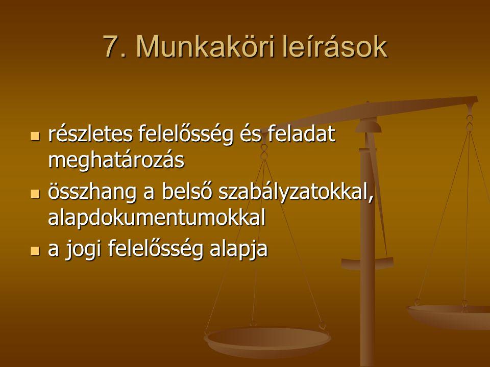 7. Munkaköri leírások részletes felelősség és feladat meghatározás