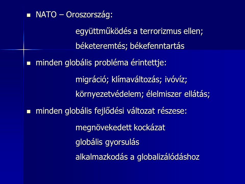 NATO – Oroszország: együttműködés a terrorizmus ellen; béketeremtés; békefenntartás. minden globális probléma érintettje: