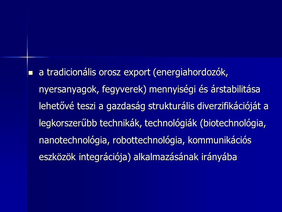 a tradicionális orosz export (energiahordozók, nyersanyagok, fegyverek) mennyiségi és árstabilitása lehetővé teszi a gazdaság strukturális diverzifikációját a legkorszerűbb technikák, technológiák (biotechnológia, nanotechnológia, robottechnológia, kommunikációs eszközök integrációja) alkalmazásának irányába