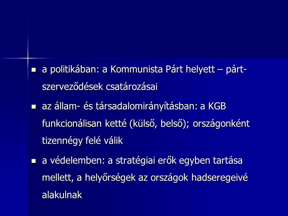 a politikában: a Kommunista Párt helyett – párt-szerveződések csatározásai