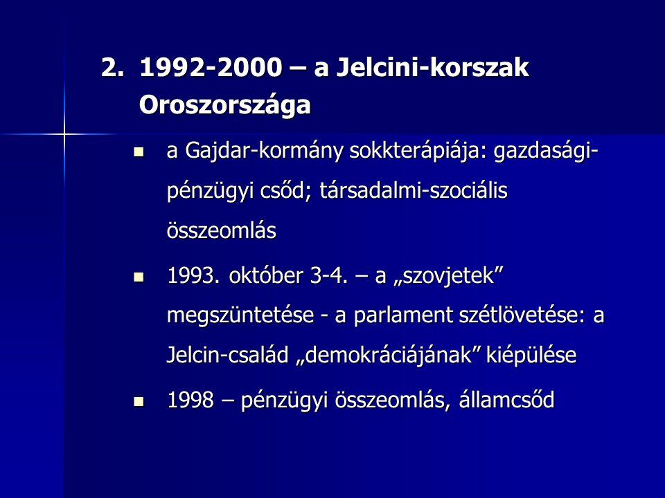 1992-2000 – a Jelcini-korszak Oroszországa