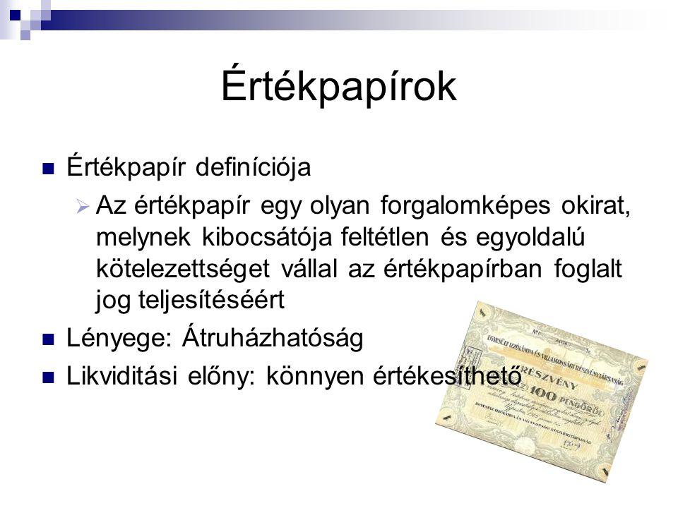Értékpapírok Értékpapír definíciója