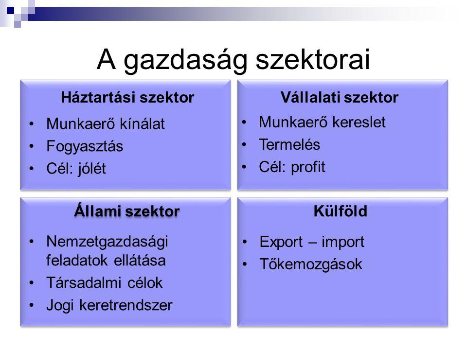 A gazdaság szektorai Háztartási szektor Vállalati szektor
