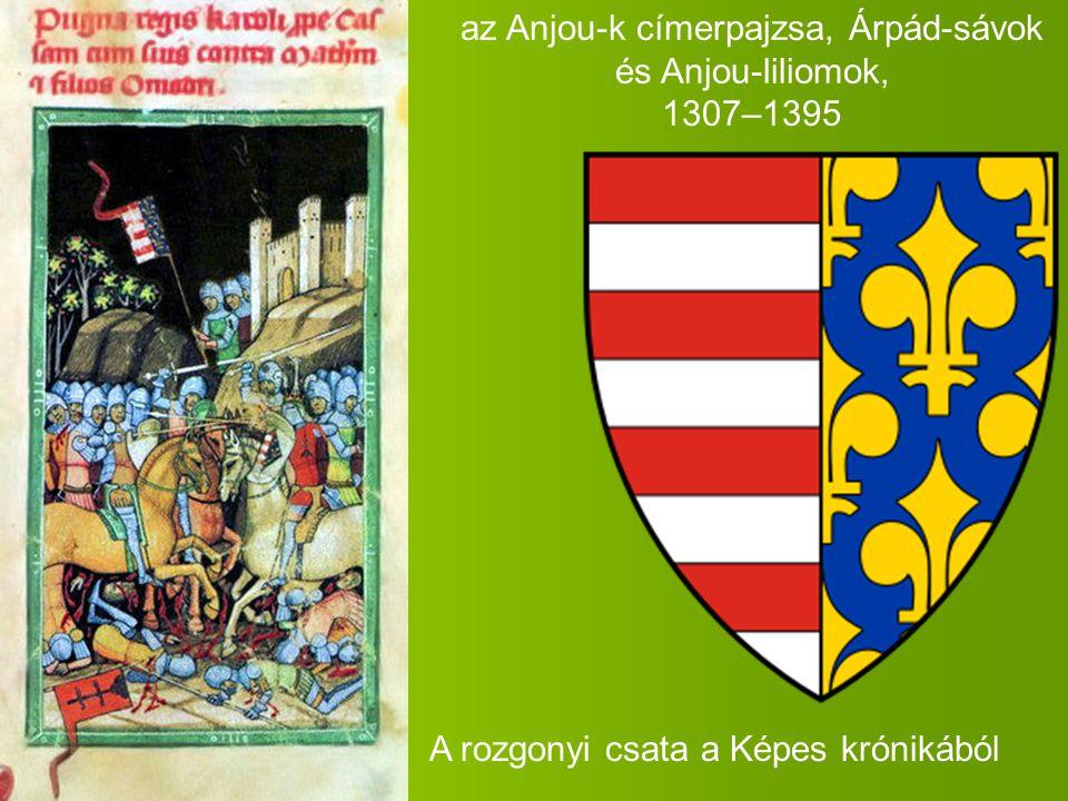 az Anjou-k címerpajzsa, Árpád-sávok és Anjou-liliomok, 1307–1395