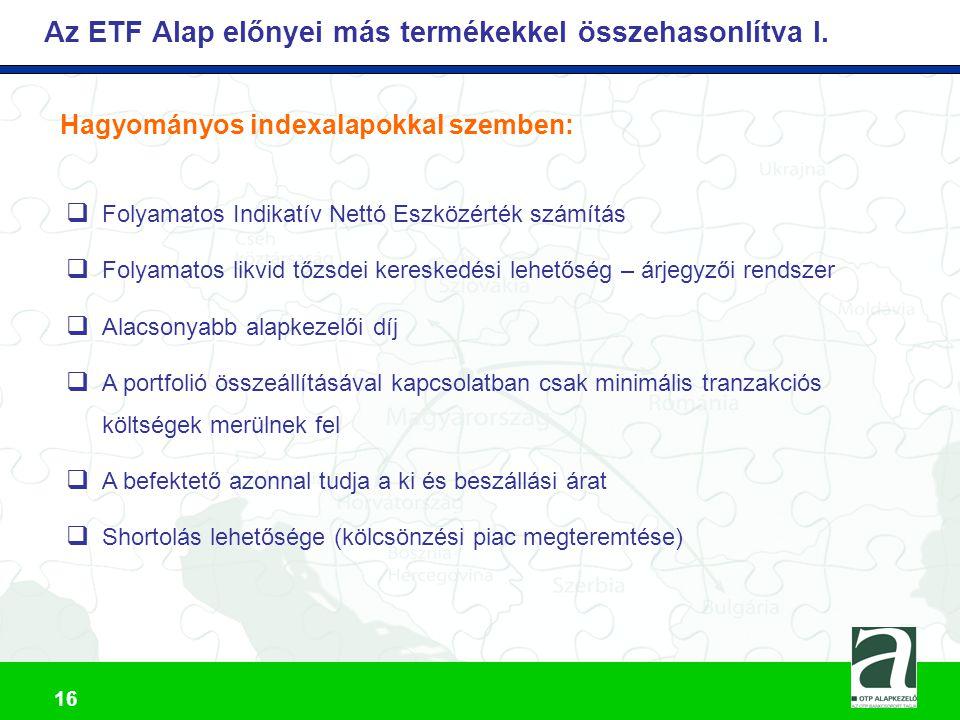 Az ETF Alap előnyei más termékekkel összehasonlítva I.