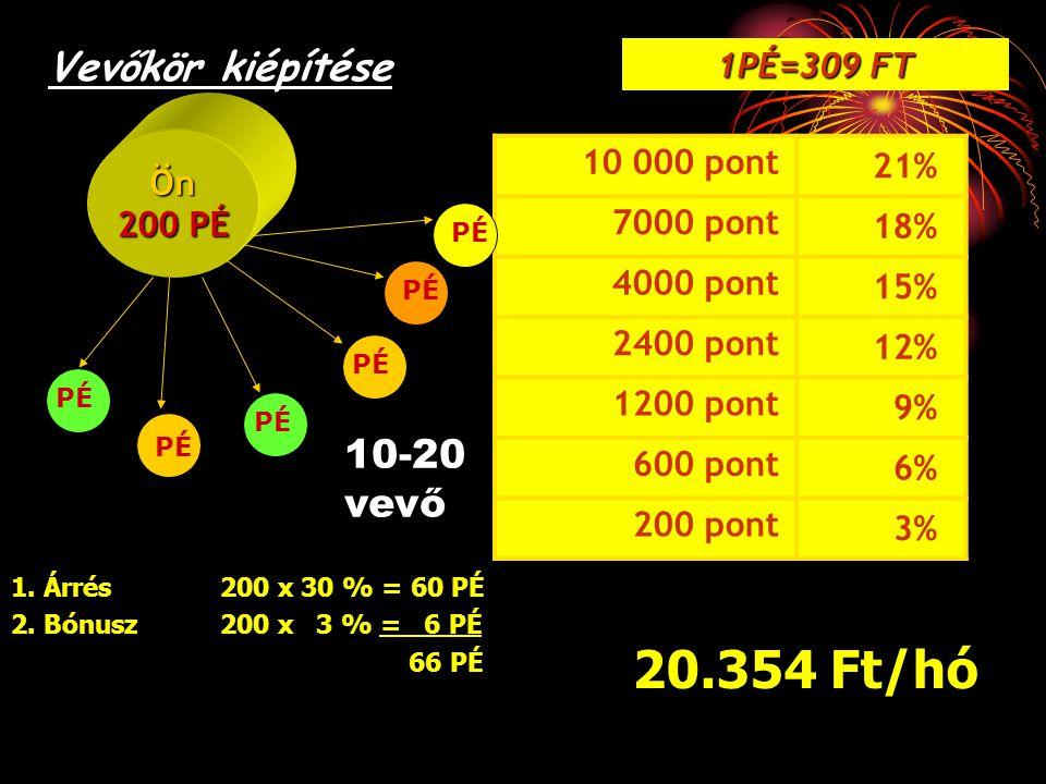 20.354 Ft/hó Vevőkör kiépítése 10-20 vevő 1PÉ=309 FT 21% 10 000 pont