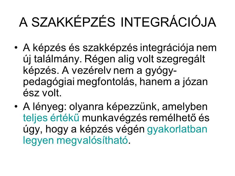 A SZAKKÉPZÉS INTEGRÁCIÓJA