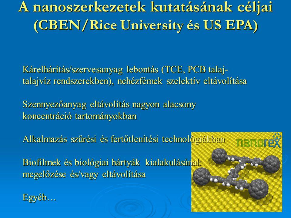A nanoszerkezetek kutatásának céljai (CBEN/Rice University és US EPA)