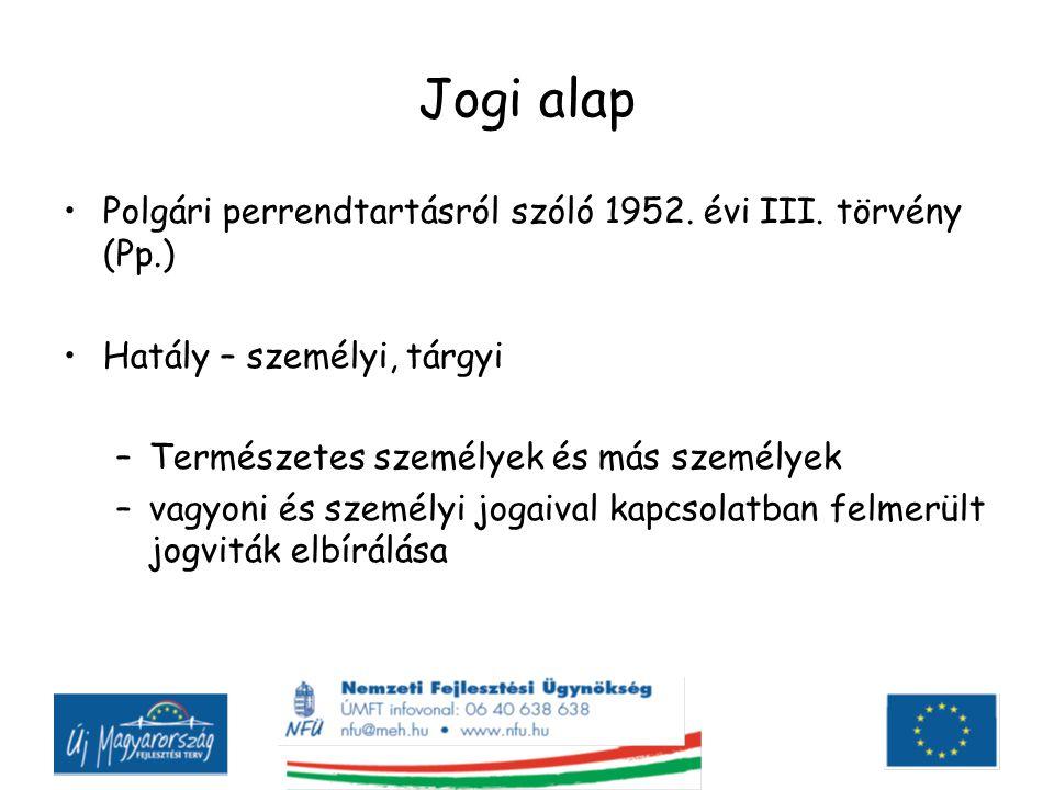 Jogi alap Polgári perrendtartásról szóló 1952. évi III. törvény (Pp.)