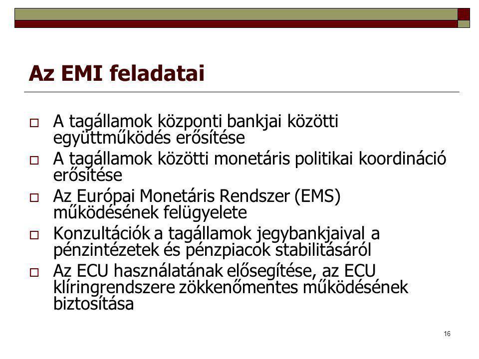 Az EMI feladatai A tagállamok központi bankjai közötti együttműködés erősítése. A tagállamok közötti monetáris politikai koordináció erősítése.