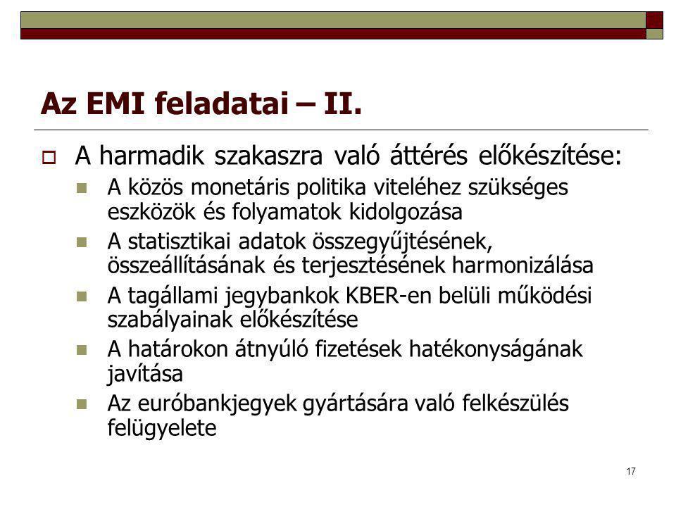 Az EMI feladatai – II. A harmadik szakaszra való áttérés előkészítése: