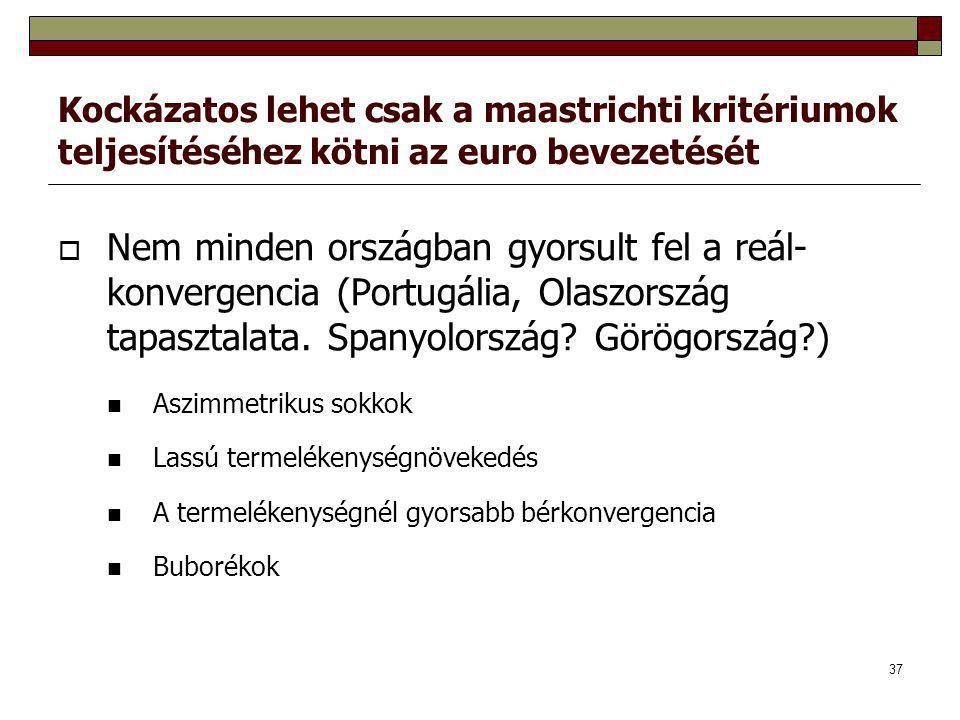 Kockázatos lehet csak a maastrichti kritériumok teljesítéséhez kötni az euro bevezetését