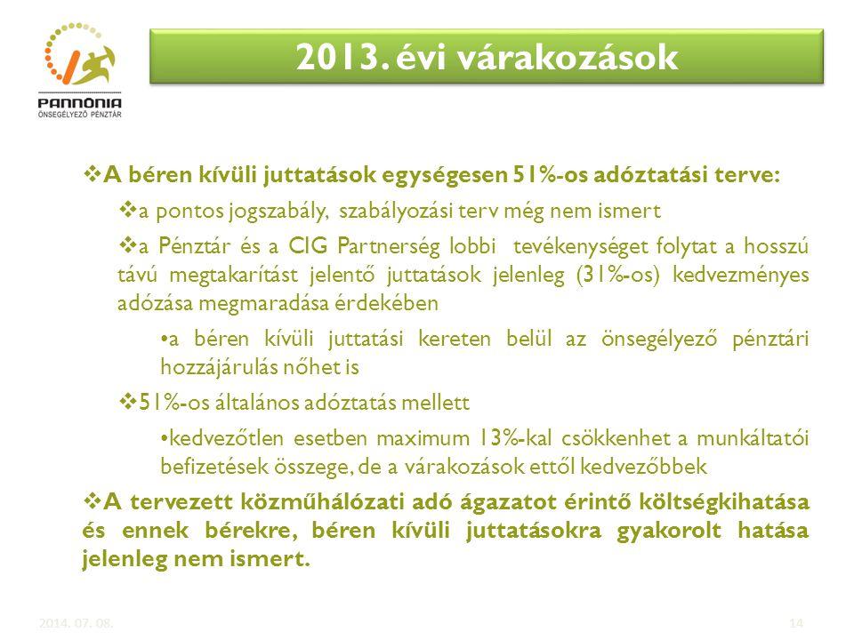 2013. évi várakozások A béren kívüli juttatások egységesen 51%-os adóztatási terve: a pontos jogszabály, szabályozási terv még nem ismert.