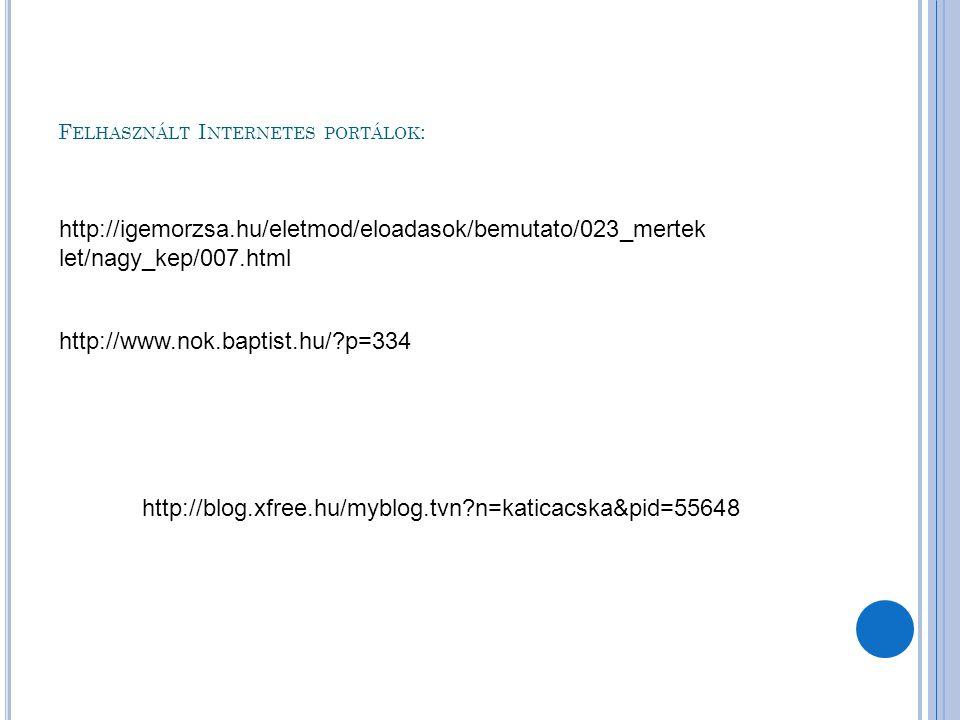 Felhasznált Internetes portálok: