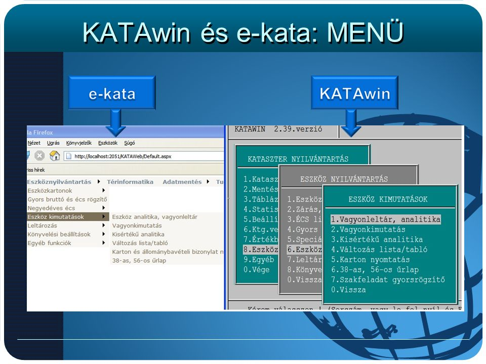 KATAwin és e-kata: MENÜ
