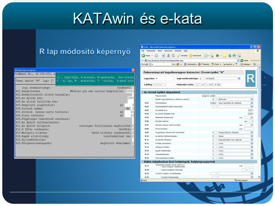 KATAwin és e-kata A képernyőn az R lap módosító képernyője látható.