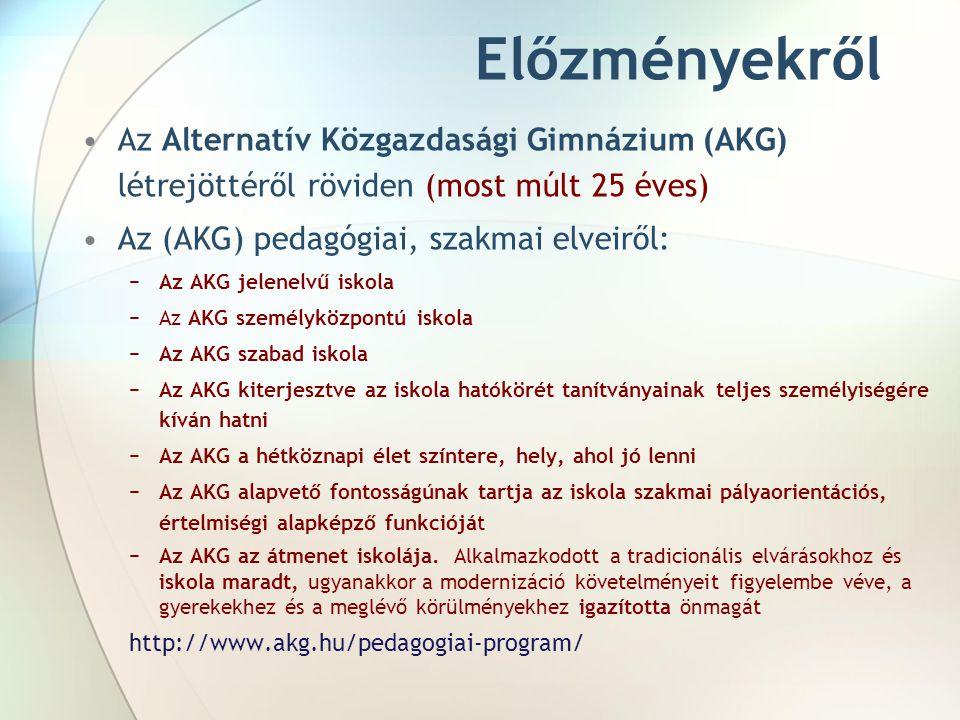Előzményekről Az Alternatív Közgazdasági Gimnázium (AKG) létrejöttéről röviden (most múlt 25 éves) Az (AKG) pedagógiai, szakmai elveiről:
